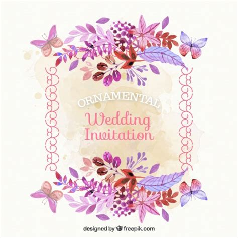 Wedding Card Ai by Ai Vintage Wedding Card With Watercolor Flowers Vector