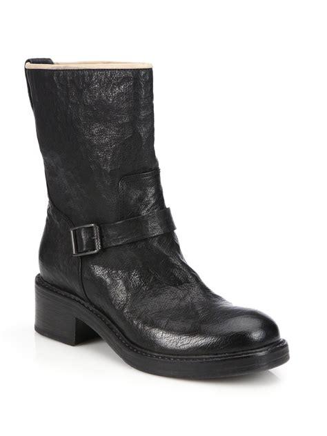 alberto fermani carmela leather mid calf boots in black lyst