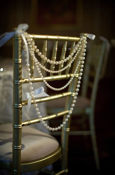 vintage wedding chair decorations pearls as chair decor