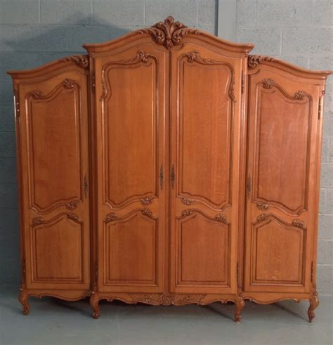 huge armoire large breakfront carved 4 door oak armoire 335025