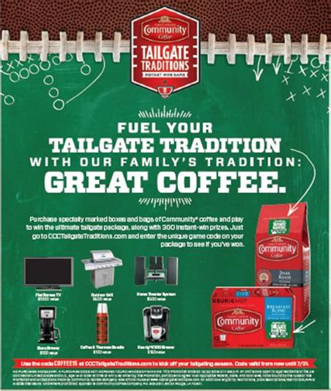 Tailgate Traditions Sweepstakes - win great prizes in the community coffee tailgate traditions instant win game and