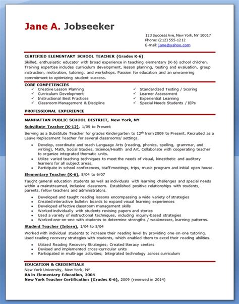 Free Resume Templates For Teachers by Elementary School Resume Sles Free Resume Downloads