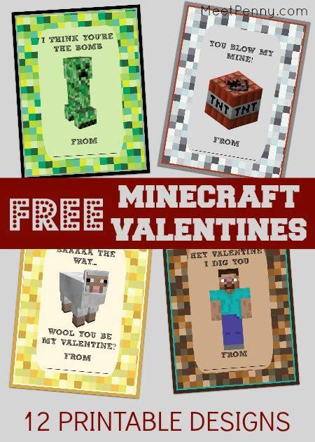Minecraft Valentine S Day Cards - free printable minecraft valentines day cards meet penny