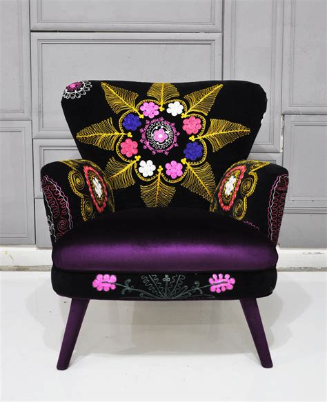 patchwork armchair patchwork armchair with suzani and dark purple velvet