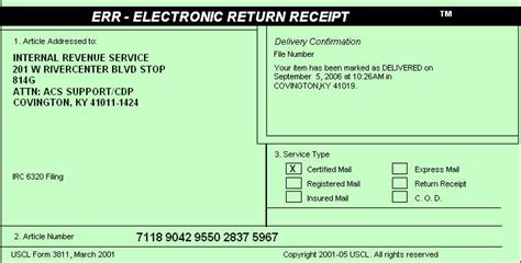 usps certified mail receipt template irs delivers document delivery regulations wang solutions