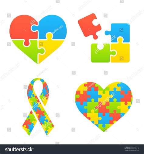 autism awareness symbols set heart ribbon stock vector