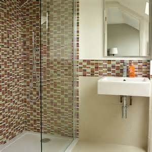 white bathroom with mosaic tiles decorating