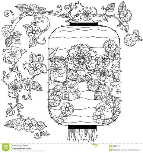 doodle flowers interpretation lantern zentagle stock vector image 66561103