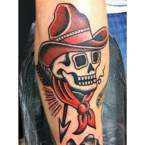 traditional cowboy skull tattoo