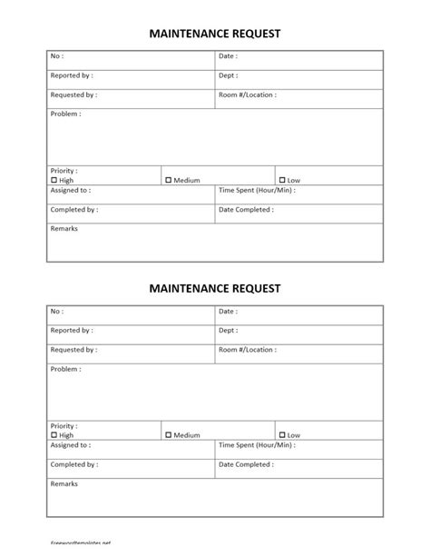 request form template hotel maintenance request form