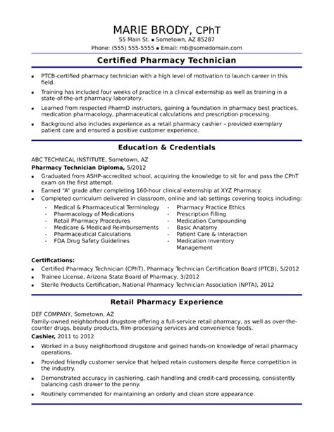 functional pharmacy technician resume template