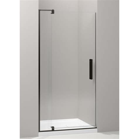 Kohler Frameless Shower Door Shop Kohler Revel 35 125 In To 40 In Frameless Bronze Pivot Shower Door At Lowes