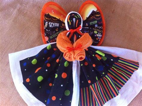 spooky dish towel kitchen angel orangeblack
