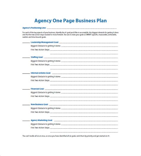 one page business plan template 11 free word excel pdf