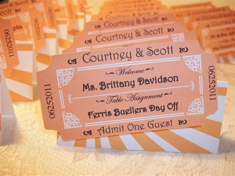 A Place Tickets Ticket Personalized Place Cards Ticket Cards