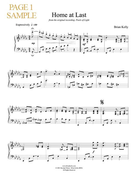 home at last sheet by composer brian