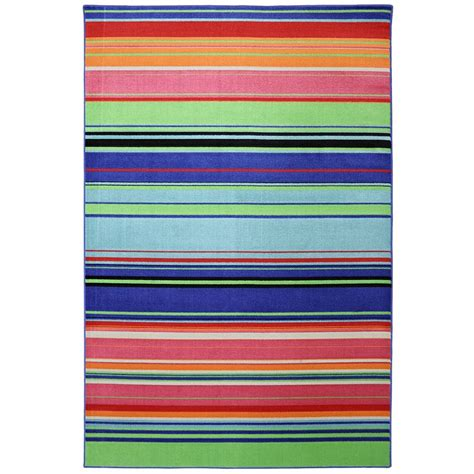 Indoor Outdoor Bright Stripes Multi Rug 8 X 10 By Bright Outdoor Rugs