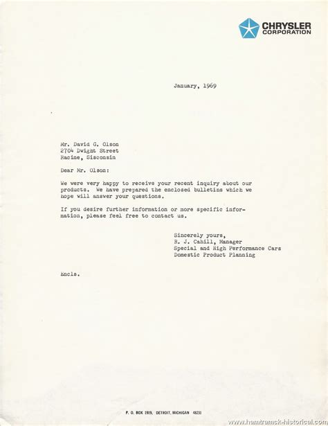 Inquiry Letter For Dealership The 1970 Hamtramck Registry Dealership Letters 1969