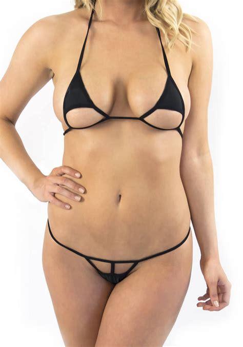 extreme tanga extreme trangle cut micro bikini brazilian g string in black
