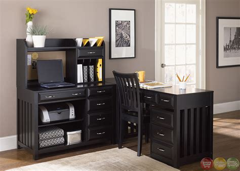 Hton Bay Black Finish L Shaped Home Office Desk Black Desks For Home Office