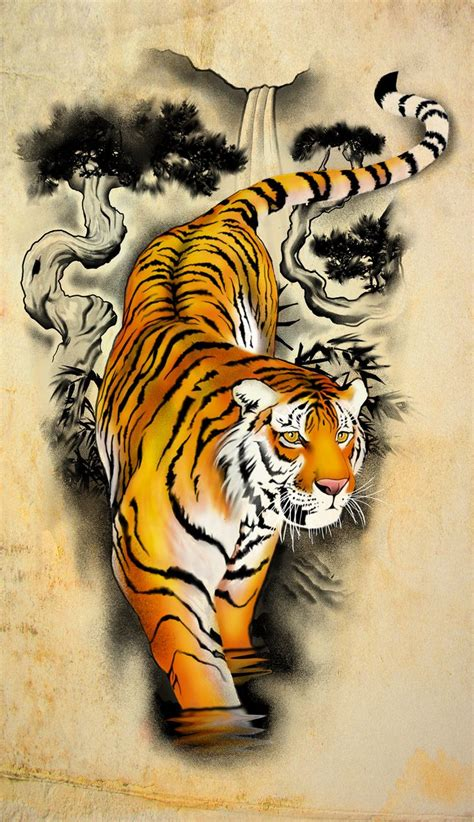best tiger tattoo designs asian tiger walking in water design by badfish1111