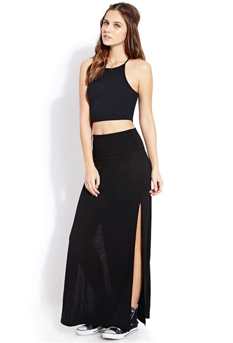 forever 21 fold m slit maxi skirt in black lyst