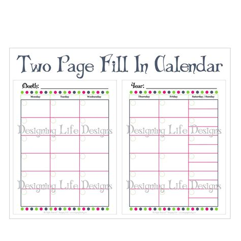two page monthly calendar 2015 calendar template 2016