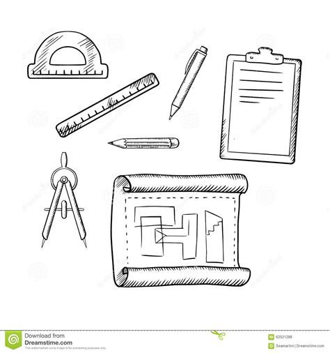 sketch tool architect drawing and tools sketches stock vector image