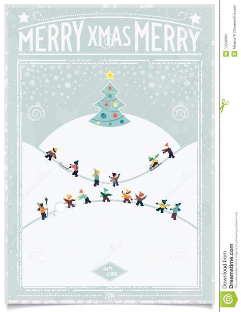vintage christmas card  playing child stock  image