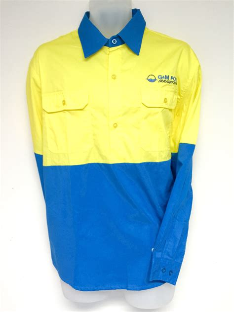 design your own work hoodie cyan blue yellow cotton drill shirt designed for g m