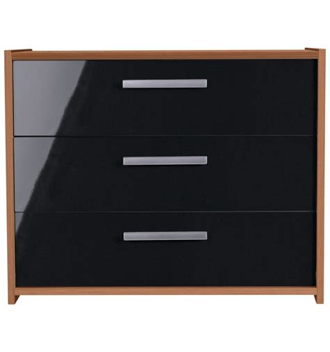 sywell bedroom furniture sywell 3 drawer chest walnut effect and black gloss