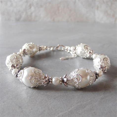 Pearl Handmade Jewelry - white pearl bracelet brides bracelet pearl wedding jewelry