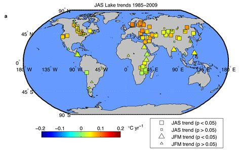 world map of seas and lakes nasa nasa study finds earth s lakes are warming
