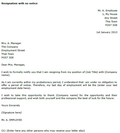 Resignation Letter Without Notice Uk Resignation Letter Exle With No Notice Toresign