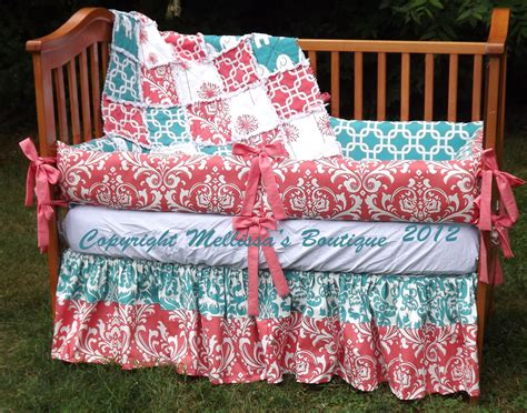 coral and turquoise baby bedding custom boutique coral and turquoise palette baby nursery