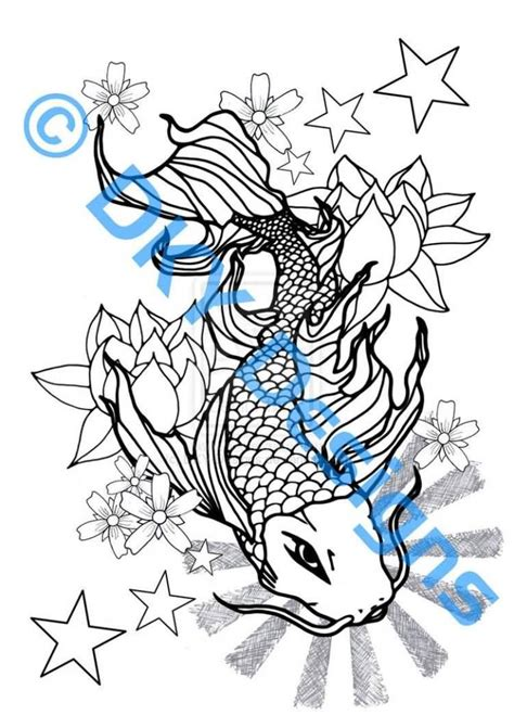 koi fish outline tattoo designs koi fish outline designs