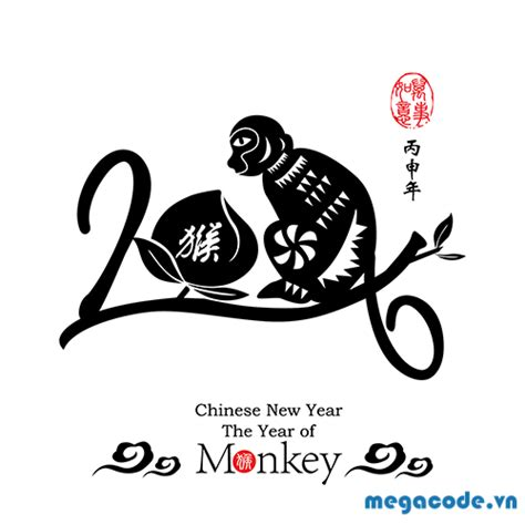 new year monkey ks1 file th羂 ph 225 p b 237 nh th 226 n 2016 vector file eps