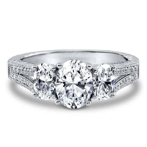 3 deco rings silver oval cz 3 milgrain deco engagement split