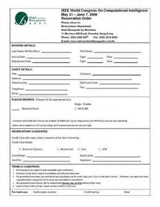 hotel reservation form template hotel reservation booking form sle forms