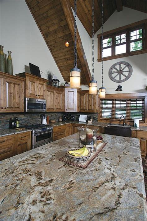 knotty pine cabinets granite counter top traditional kitchen from the whitefish chain of lakes home featured in