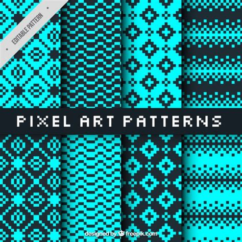 pixel pattern ai collection of patterns in pixel art style vector free