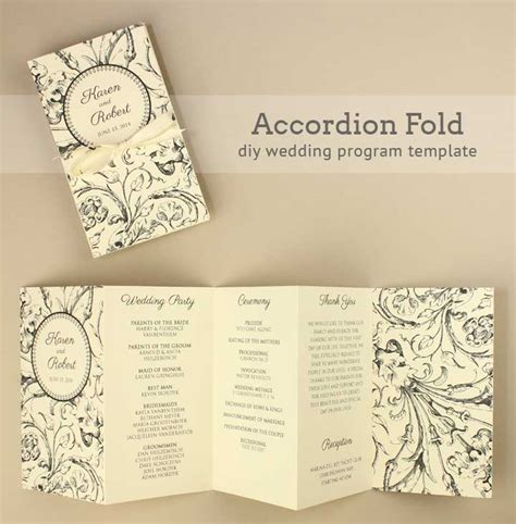 Diy Tutorial Free Printable Folded Wedding Program Boho Weddings For The Boho Luxe Bride Diy Wedding Program Template