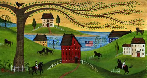 Primitive Colonial Home Decor by Primitive Folk Art Painting Americana Horse Farm Early