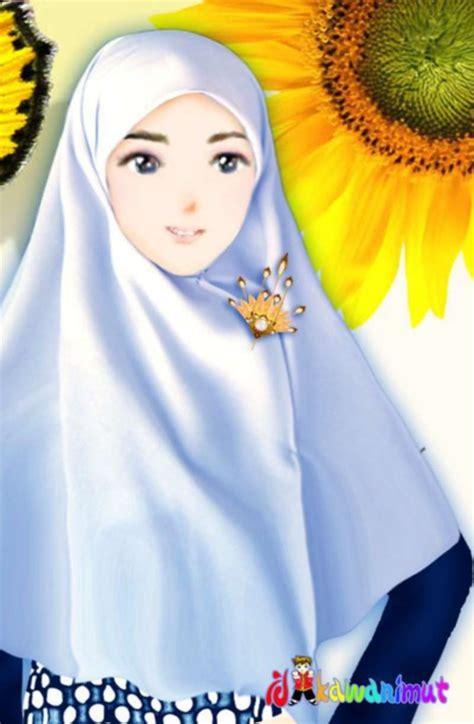 kartun muslimah imut membawa bunga anak cemerlang