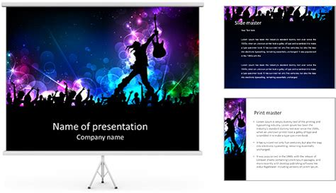 rock powerpoint themes rock star performing with guitar powerpoint template