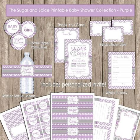 sugar and spice baby shower invitation package purple gray grey chevron baby shower
