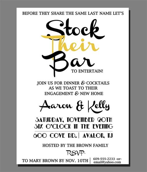 stock the bar invitation templates bridal shower invitations bridal shower invitations stock