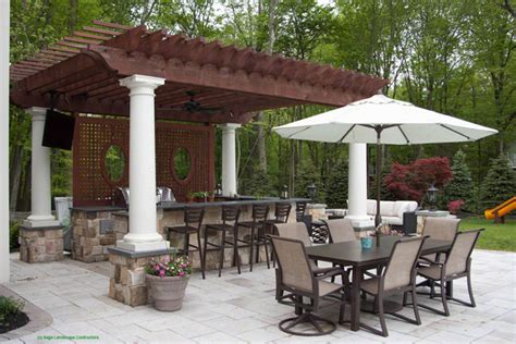 outdoor kitchen and patio outdoor kitchen and pergola concrete patio
