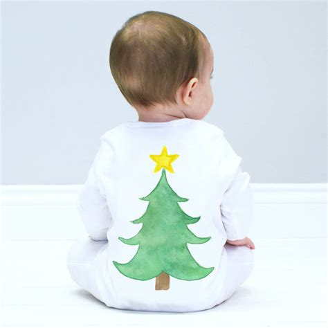 christmas tree baby sleepsuit by sparks and daughters