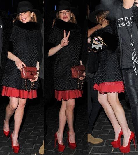 Lindsay Lohan In Christian Louboutins by Lindsay Lohan Looks Trashy In Zig Zag Skirt Dress And